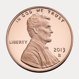 Imagem de uma moeda de um centavo de dólar (um penny)